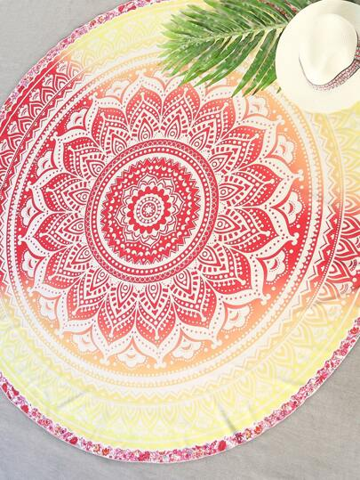 Red And Yellow Printed Round Beach Blanket