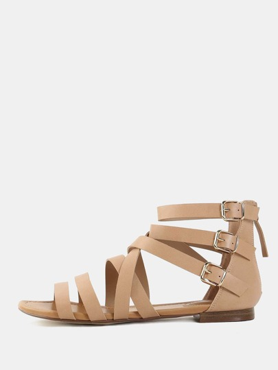 Strappy Open Toe Gladiator Sandals NATURAL