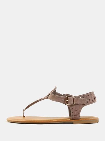 Braided Thong Sandals TAUPE
