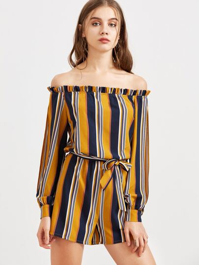Navy And Mustard Striped Off The Shoulder Belted Romper