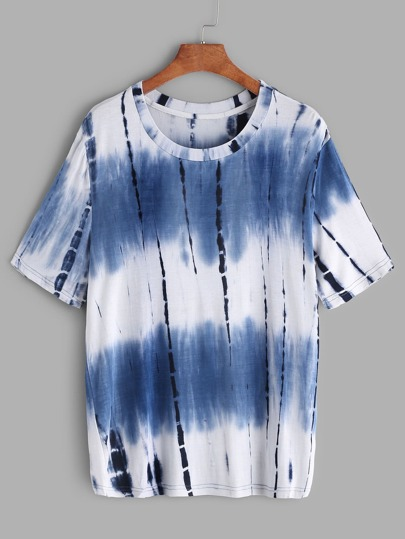 Navy Tie Dye Print Short Sleeve T-shirt