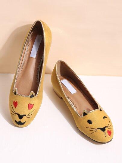 chat jaune ballerines de broderie