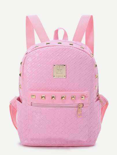 Studded Detail Woven PU Backpack