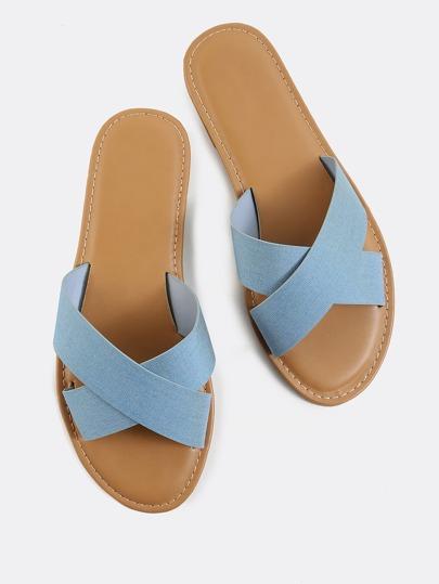 Criss Cross Denim Sandals LIGHT BLUE