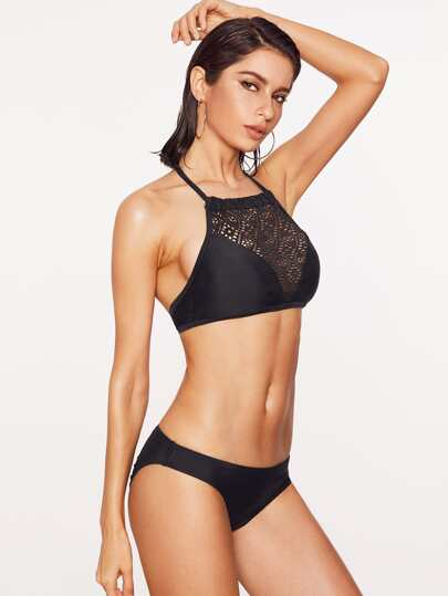 Black Hollow Out Detail Halter Bikini Set