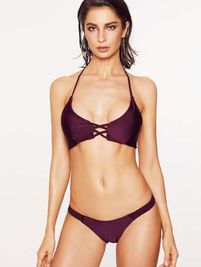 Burgundy Criss Cross Braided Strap Halter Bikini Set