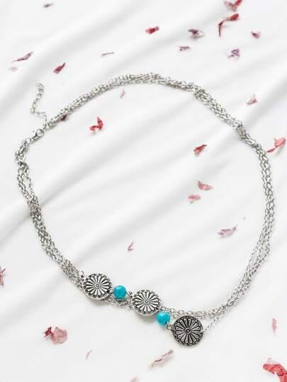 Silver Charm Vintage Layered Head Chain