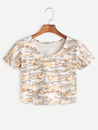 Camouflage Print Crop T-shirt