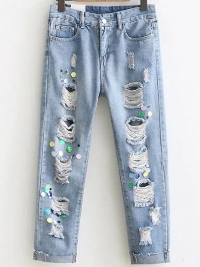 Blue Ripped Detail Sequin Embellished Jeans