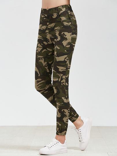 Camo stampa della vita elastica Pants