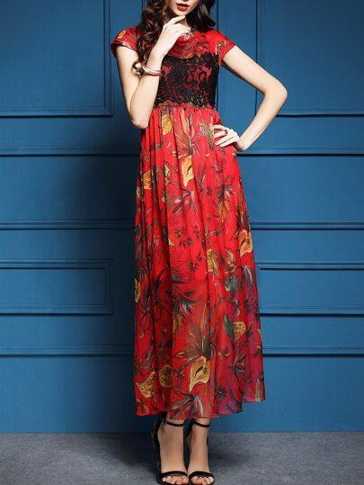 Красное макси платье с цветочным принтом