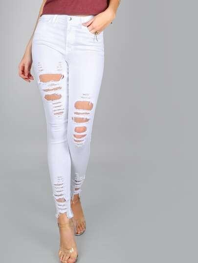 Frayed Hemline Distressed Jeans WHITE