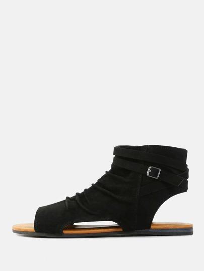 Cut Out Peep Toe Sandals BLACK