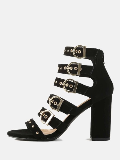 Studded Strappy Chunky Heels BLACK