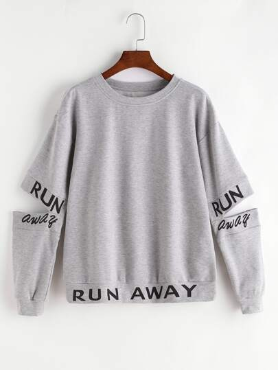 Letter Print Split Elbow Sweatshirt
