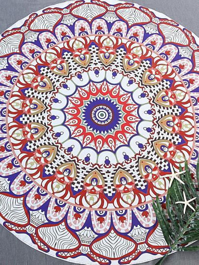 Multicolor Printed Round Beach Blanket