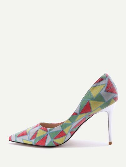 Zapatos de tacón alto punto con estampado - multicolor