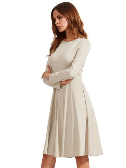 Apricot Pleated Long Sleeve A-Line Dress