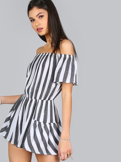 Off Shoulder Mixed Stripe Romper