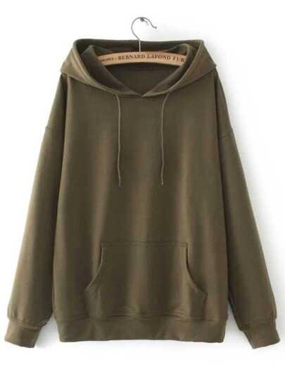 Army Green Drawstring Hooded Sweatshirt With Pocket