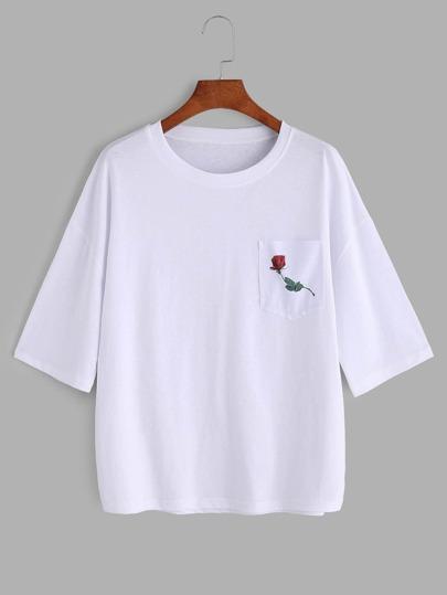 White Rose Print Drop Shoulder T-shirt