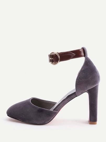 Zapatos con correa al tobillo de tacón de aguja - gris