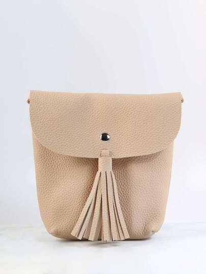 Crossbody Tassel Handbag BEIGE