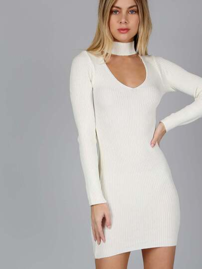 Ribbed Mock Neck Sweater Dress IVORY