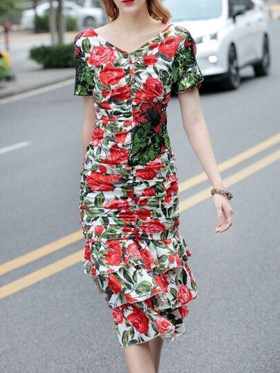 Multicolor V Neck Rose Print Pleated Dress