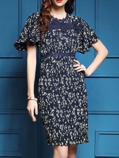 Navy Bell Sleeve Floral Pleated Sheath Dress
