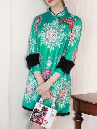 Green Print Shift Vintage Dress
