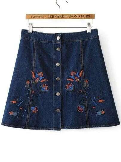 blu jeans gonna floreale ricami pulsante