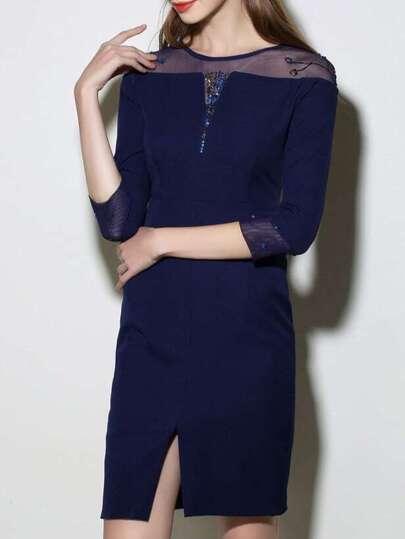Navy Contrast Gauze Sequined Split Dress