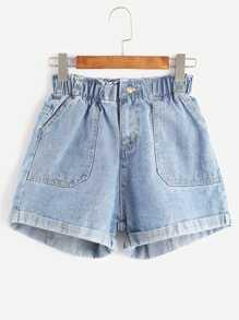 Elastic Waist Rolled Hem Denim Shorts