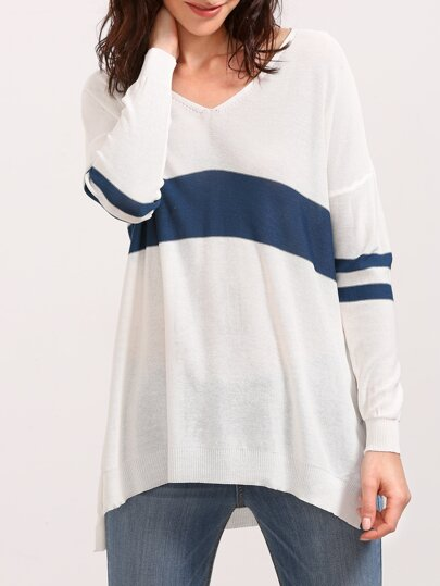 White V Neck Slit Side High Low Knit T-shirt