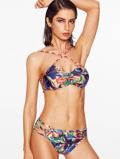 Модный купальник-бикини с цветочным принтом