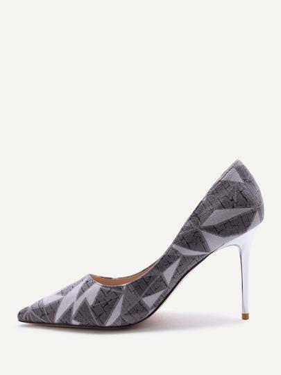 Zapatos de tacón alto punto con estampado - gris