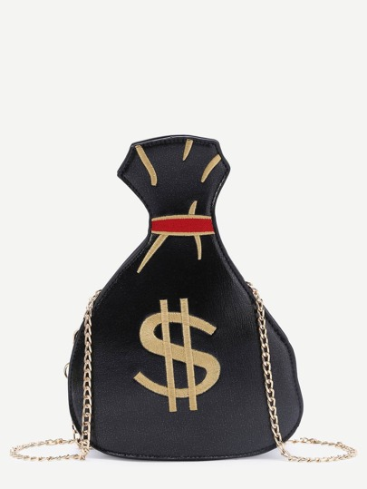 Black Dollar Pattern Asymmetrical PU Chain Bag