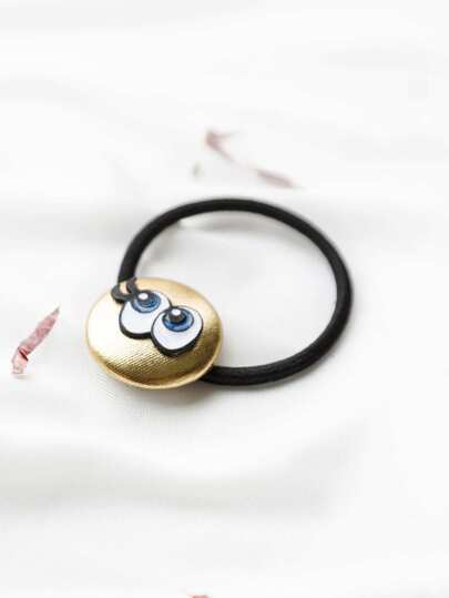Gold Eyes Applique Button Hair Tie
