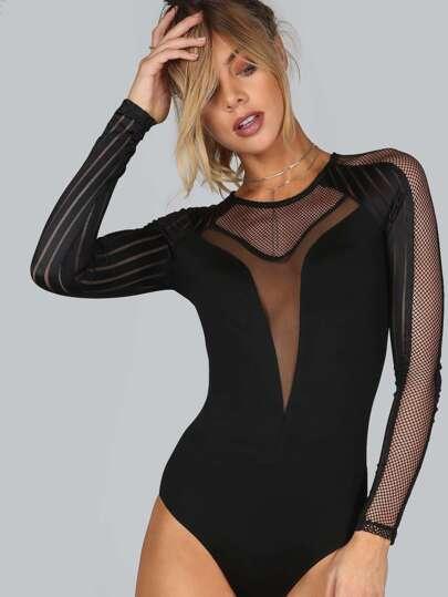 Mesh Striped Long Sleeve Bodysuit BLACK