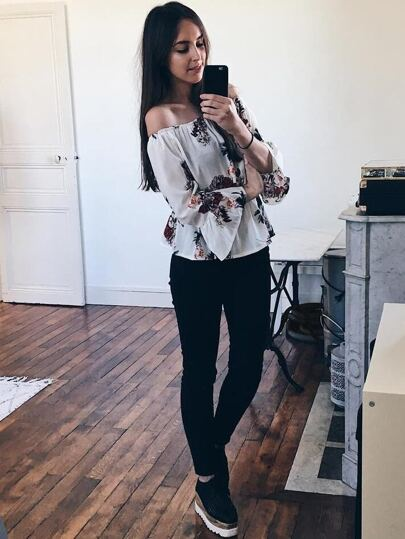 Florals Off Shoulder Flute Sleeve Blouson Top