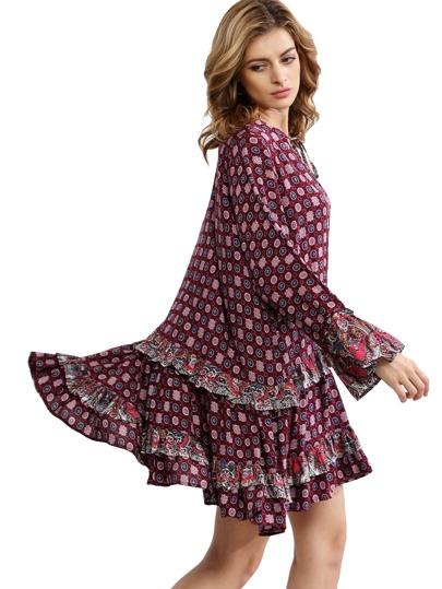 Multicolor V Neck Ruffle Shift Dress