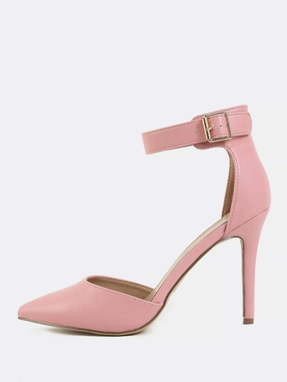 Pointy Toe PU Stiletto Heels PINK