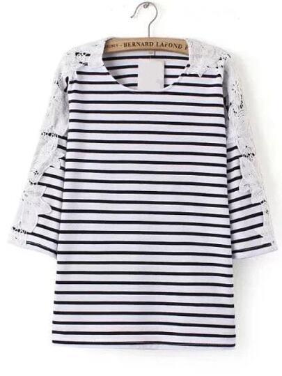 Schwarzes und weißes gestreiftes Kontrast-Spitze-T-Shirt