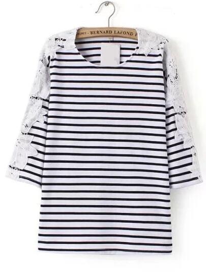 Bianco e nero a strisce pizzo a contrasto T-shirt