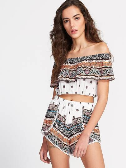 Multicolor Vintage Print Off The Shoulder Ruffle Top With Wrap Shorts