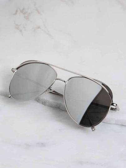 Metallic  Aviator Sunglasses SILVER