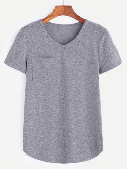 Heather Grey V Neck Curved Hem Pocket T-shirt
