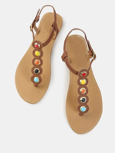Vibrant Beaded Thong Sandals CAMEL