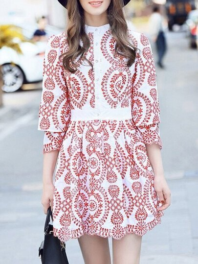 Red Hollow Embroidered A-Line Dress